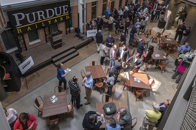 Entrepreneurs and investors gather at a startup networking event in the Purdue Railyard, which is one of the largest co-working spaces in the Midwest. (Oren Darling/Purdue Research Foundation)