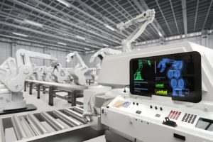 automation industry with 3d rendering monitor screen with robotic arms
