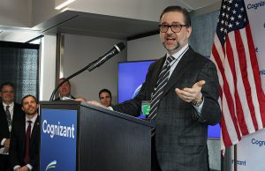 Cognizant executive vice president Allen Shaheen talks about the Cognizant and ATG partnership at ATG's new location in the Old Sawmill District on Tuesday, March 13, 2019. (Mari Hall/Missoula Current)