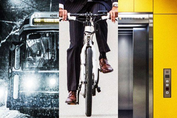 bus,bike, and  elevator