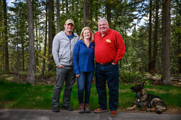 Robyn and Mark Jones, cofounders of Goosehead Insurance and their son-in-law Ryan Langston, president of the Jones' Flathead Ridge Ranch, are pictured on the Jones' property on Big Mountain in Whitefish on May 18, 2021. Hunter D'Antuono | Flathead Beacon